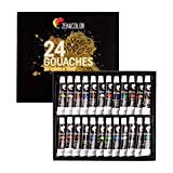 Zenacolor - Peinture Gouache en Tube - Coffret de 24 Couleurs, Haute...