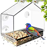 Deluxe Clear Window Bird Feeder, Large Wild Birdfeeder with Drain Holes, Removable Tray, Super...