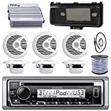 Kenwood Single DIN Marine Boat Audio Bluetooth CD Player Receiver W/ Radio Cover - Bundle Combo with 6X White 6.5'' 150W Waterproof Stereo Speakers + Enrock Antenna + 400W Amplifier + 50-FT Wire