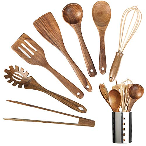 Wooden Kitchen Utensil Set,Wood Utensils Cooking Set Organic Teak Wood Spoons for Cooking,Spatulas Non-Stick for...