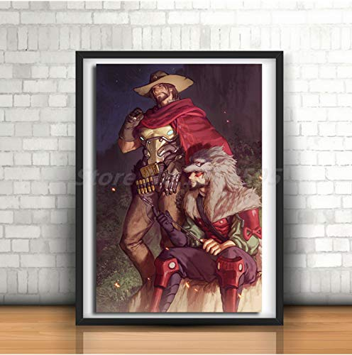 Mengyun Store Jesse McCree E Hanzo Shimada of Overwatchs Art Canvas Wall Painting Poster Stampa...