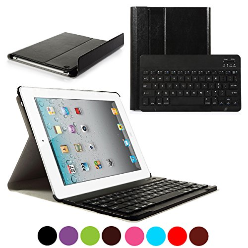 CoastaCloud iPad 2/3/4 Really Thin Smart Stand Cover with Magnetically Detachable Wireless Bluetooth Keyboard Case for Apple Old iPad 2 3 4 (Black)