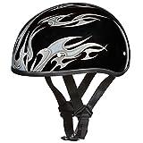 Daytona Helmets Motorcycle Half Helmet Skull Cap- Flames Silver 100% DOT Approved