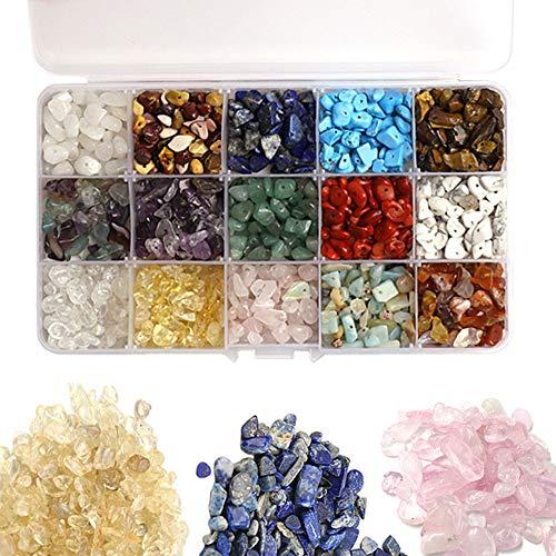 Nsiwem 1 Caja 15 Colores Cuentas de Piedra Cristales Curativos Piedras Naturales Abalorios de Piedras Preciosas Cristal Irregular para Pulsera Collar Pendientes Bisuteria Artesanía DIY