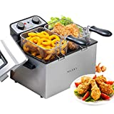 Secura Electric Deep Fryer 1800W-Watt Large 4.0L/4.2Qt Professional Grade Stainless Steel with Triple Basket and Timer