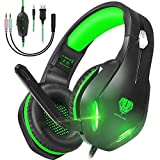 GH-2 Stereo Gaming Headset with Microphone for PS4,Nintendo Switch,Xbox One,PS5,Laptops,PC,Phones, Noise Cancelling Over Ear Headphone with Mic & LED Light, 50mm Drivers, 3.5mm Audio Jacks (Green)