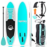 SereneLife Inflatable Stand Up Paddle Board (6 Inches Thick) with Premium SUP Accessories & Carry Bag, Wide Stance, Bottom Fin for Paddling, Surf Control, Non-Slip Deck, Youth & Adult Standing Boat