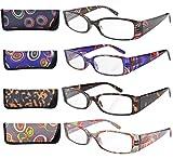 Eyekepper 4-Pack Beautiful Colors Spring Hinge Rectangular Reading Glasses +3.50