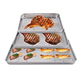 Jucoan 3 Pack Baking Sheet with Rack Set, Stainless Steel Cookie Half Tray Baking Pan with Roasting Cooling Rack for Oven Grill (15.8x12,12.5x9.8,10.5x8.1inch)