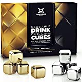 Whiskey Stones Luxury Gift Set - Stainless Steel Rocks 4 Gold + 4 Silver Combo - Reusable Ice Cubes...