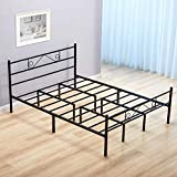 GreenForest Full Size Bed Frame with Headboard Metal Platform Bed with Heavy Duty Support 11inch Mattress Foundation, No Box Spring Needed, Black
