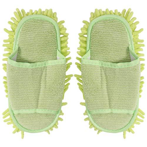 TENDYCOCO 1 Paio di Pantofole in Microfibra Unisex Pantofole per La Pulizia della Casa Pulizia del Pavimento Mop Strumento di Pulizia della Polvere del Pavimento Uomini E Donne (Verde Chiaro)