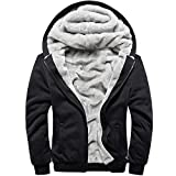 MACHLAB Men's Pullover Winter Workout Fleece Hoodie Jackets Full Zip Wool Warm Thick Coats Black#W11...