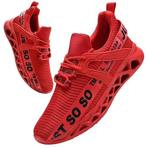 BUBUDENG Hombre Deportivas Zapatillas Running Hombre Tenis Zapatillas de Tenis para Hombre con Cordones Casuales y Ligeras Rojo EU43