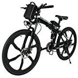 ANCHEER Folding Electric Mountain Bike with 26' Super Lightweight Magnesium Alloy 6 Spokes Integrated Wheel, Premium Full Suspension and 21 Speed Gears