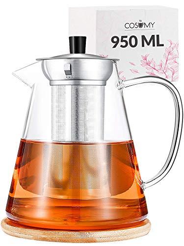 Cosumy Teekanne mit Siebeinsatz 950ml inkl. Untersetzer - Spülmaschinenfest - Hitzebeständig