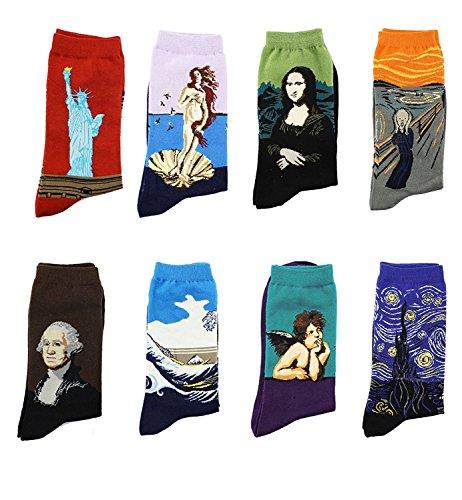 LJ calze sportive unisex, idea regalo, con dipinti retr, calze da uomo con pittura ad olio (confezione da 8paia), Multicolour 78161