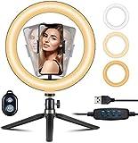 """Aro de luz VicTsing, Anillo de Luz Trípode LED 10"""", 3 Modos Luz + 10 Niveles Brillo Regulables Wireless Control Remoto, para Movil TIK Tok, Maquillaje, Selfie, Streaming, Youtube"""