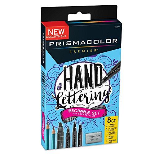 Prismacolor Premier Beginner Hand Lettering Set with Illustration Markers, Art Markers, Pencils, Eraser and Tips Pamphlet, 8 Count