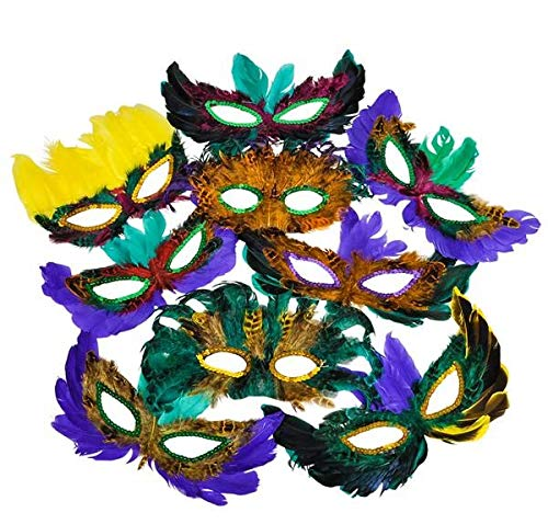 Rhode Island Novelty Mardi Gras Feather Masks 50 Piece Assortment