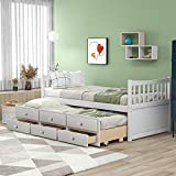 Merax Twin Size Daybed with Trundle and Drawers for Kids, Teens and Adults, White