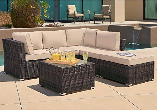 SUNCROWN Outdoor Sofa 4-Piece Patio Furniture Set, Checkered Wicker and Glass Coffee Table, Brown Washable Cushion, Waterproof Cover and Clips