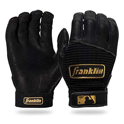 Franklin Sports MLB Pro Classic Baseball Batting Gloves Pair - Black/Gold - Adult Small