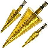 Hiveseen ステップドリル スパイラル ドリル 六角軸 らせん状 チタンコーティング HSS鋼 3本セット 4-32mm 15段 4-32mm 9段 4-20mm 5段4-12mm 表示 収納ポーチ付