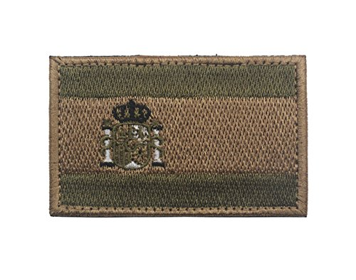 Parche bordado con bandera de España para coser sobre 8 x 5 cm, parches para operador con gancho y cierres en la parte trasera Army Green