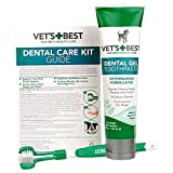 Vets Best Dog Toothbrush and Enzymatic Toothpaste Set | Teeth Cleaning and Fresh Breath Kit with Dental Care Guide| Vet Formulated