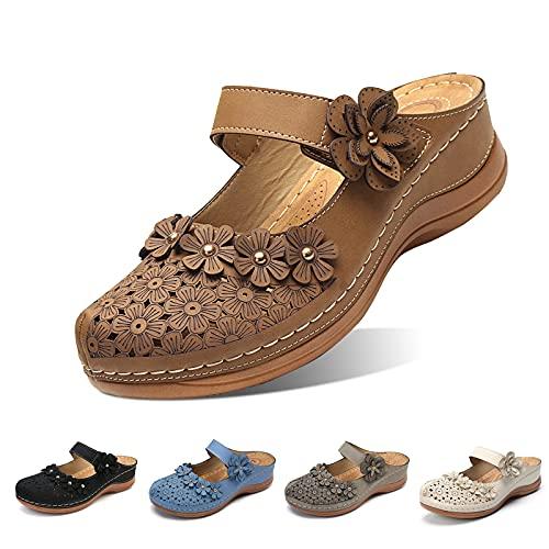 Camfosy Zuecos para Mujer, Mulas de Playa de Verano para Mujer, Zuecos, Zapatos cómodos, con Punta Cerrada, Sandalias para Caminar, Zapatillas de Flores