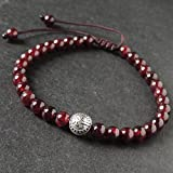 Healing Garnet Gemstone Bracelet Tibetan Silver Pingan Security, Protection Bead, January Birth Stone, Handmade Adjustable Braided Drawstring with 5.5mm Beads