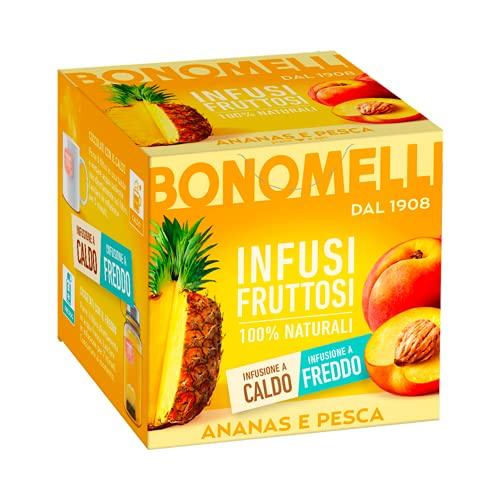 Bonomelli, Infusi Fruttosi, Ananas e Pesca, Ingredienti 100% Naturali, Gusto Dolce e Vellutato, Infusione a Caldo e a Freddo, Confezione da 12 Filtri