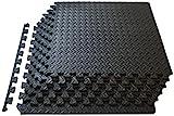 ProSource fs-1908-pzzl Puzzle Exercise Mat EVA Foam Interlocking Tiles (Black, 24 Square Feet)