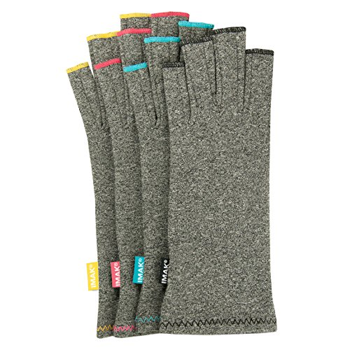 IMAK Compression Gloves (Small, Gray with Sapphire Stitching)