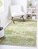 Unique Loom Bromley Collection Vintage Traditional Medallion Border Green Area Rug (5' 0 x 8' 0)