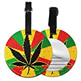 Bag Tags For Luggage Cool Green Cannabis Leaf Icon Unique Luggage Tags For Women Bag Travel Tags with Adjustable Black Strap For Bags & Baggage with Privacy Protection For Women Men