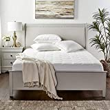 Zen Bamboo Mattress Pad Cover - Cooling Bed Topper & Waterproof Protector w/ Deep Pockets, Queen Size, White