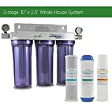 Max Water Whole House Water Filter, 3 Stage Home Water Filtration System, w/ 10 x 2.5 Sediment, GAC, CTO Carbon Water Filters (Chlorine, Taste, and Odor) 3/4' Ports w/ 2 Dry Pressure Gauge