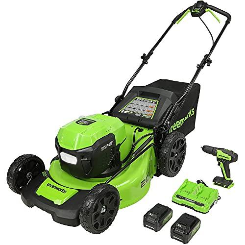 Greenworks 48V (2 x 24V) 20-Inch Brushless Cordless Push Lawn Mower Bundle