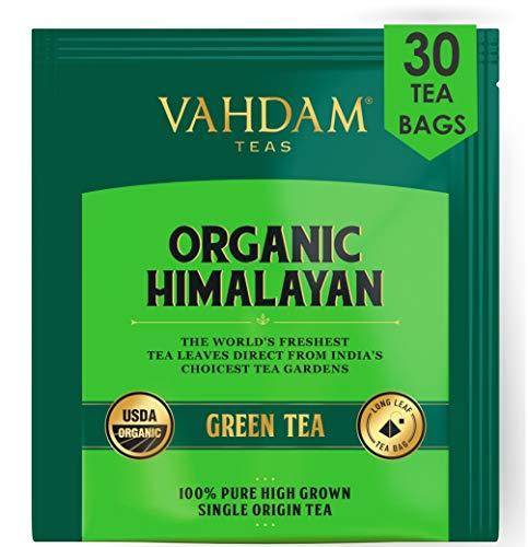 VAHDAM, Biologico Tè verde in foglie dall'Himalaya (30 bustine) - 100% Tè naturale disintossicante e snellente, perfetto per perdere peso. confezionato direttamente in India