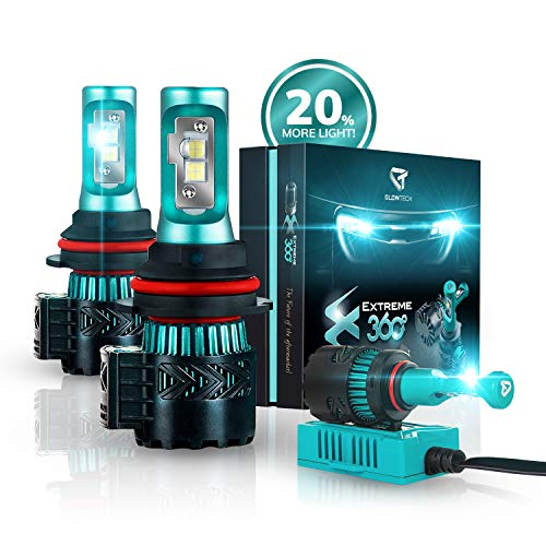 Glowteck LED Headlight Bulbs Conversion Kit - 9007(HB3) CREE XHP50 Chip 12000 Lumen/Pair 6K Extremely Bright 68w Cool White 6500K For Bright & Greater Visibility