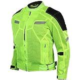 Vance Advance Lightweight Mens All Weather Season CE Armor Mesh Motorcycle Jacket (Hi-Viz Green, XL)