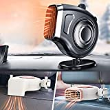 QIFUN 2 in 1 Portable Car Heater Defroster Defogger Automobile Windscreen Fan 12V 150W Auto Ceramic Heater for Car Dashboard and Car Seat(Black)