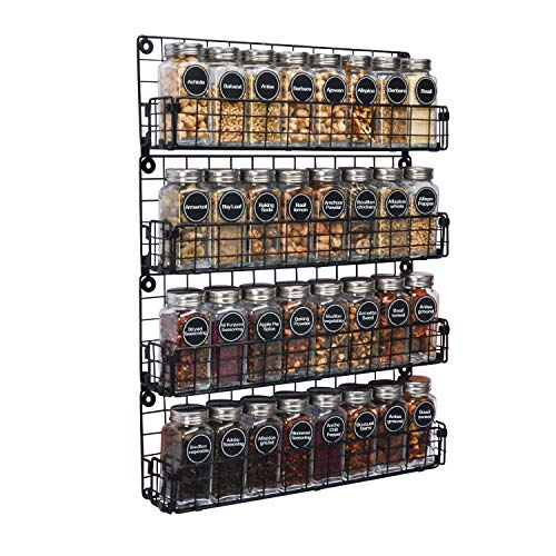 Spice Rack Organizer Wall Mounted 4-Tier Stackable Black Iron Wire Hanging Spice Shelf Storage Racks,Great for...