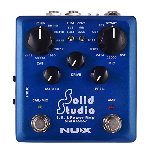 NUX Solid Studio IR Power Amp Simulator Guitar Effect Dual Footswitch Built-in 8 Cabinet 8 Microphone 3 Power Amp Tube Simulations True Bypass