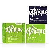 Ethique Shampoo and Conditioner Set for Itchy Scalps, Be Wonderful (Heali Kiwi & Wonderbar) - Sustainable, Natural, 100% Soap Free, Vegan, Plant Based, Eco-Friendly 100% Compostable, Zero Waste, 6oz