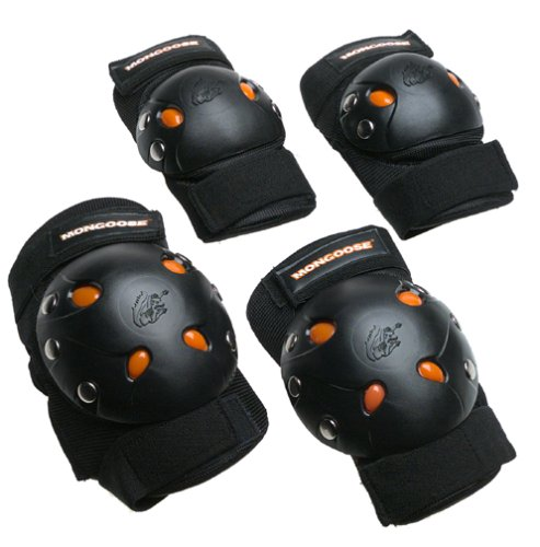 Mongoose Youth BMX Bike Gel Knee and Elbow Pad Set, Multi-Sport Protective Gear, Black/Orange