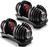 Gorilla Gadgets Adjustable Dumbbell 2.5-52.5 lb, Compact Gym Weight, 15 Weight Sets in One for Women...
