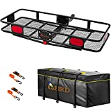 KING BIRD Upgraded 60' x 24' x 6' Hitch Mount Folding Cargo Carrier Fits to 2'' Receiver,500LBS Capacity Cargo Basket with Waterproof Cargo Bag and Packing Straps